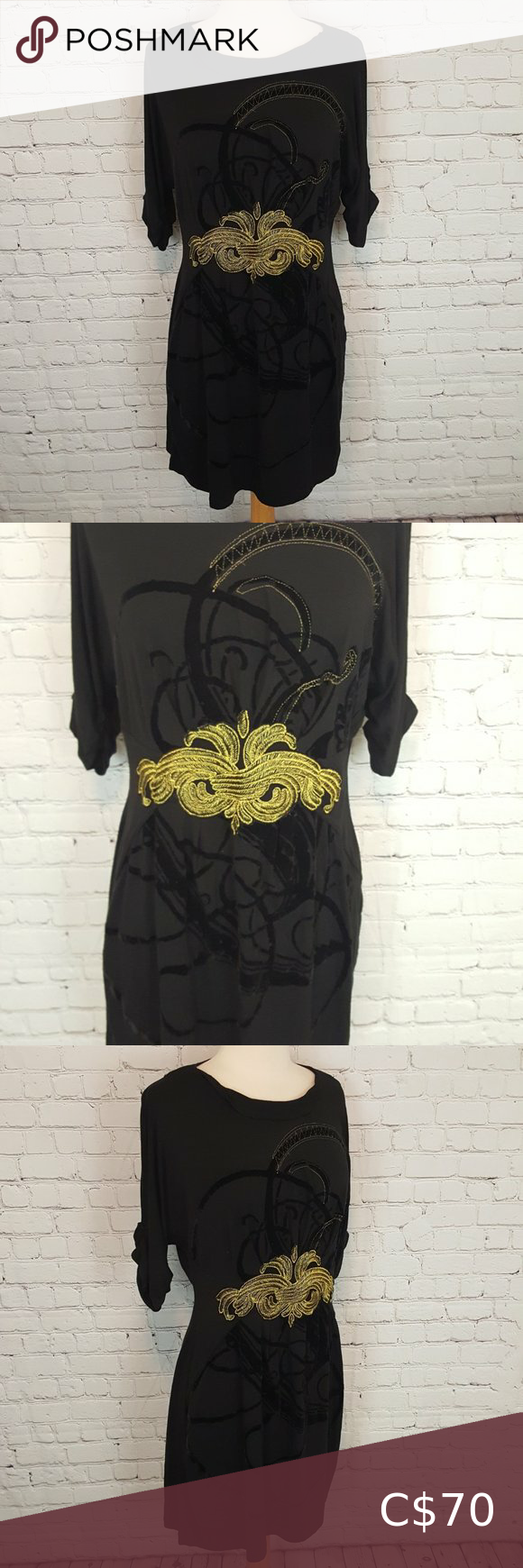 Desigual By Christian Lacroix Black Gold Dress L Size L Bust 38 Waist 30 Hips 36 Length 34 Raised Gold A Gold And Black Dress Gold Dress Desigual [ 1740 x 580 Pixel ]