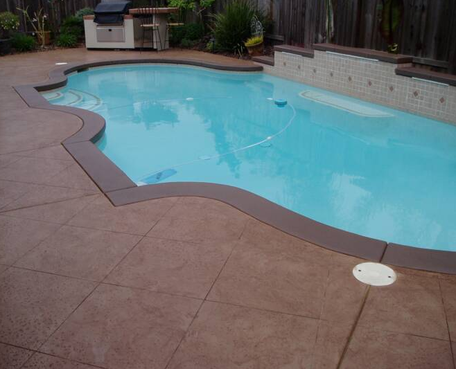 Beautiful Pool Deck Resurfaced Concrete Made With Newlook Concrete Stain In Caramel And Oak