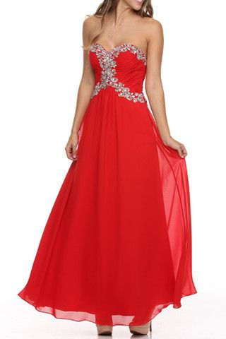 A Line/Princess Strapless Sweetheart Neckline Floor Length Bride Maid Evening Long Prom Dress With Ruffle Beading