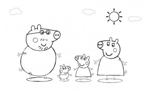 Peppa pig with mom dad and george coloring pages for Peppa pig disegni da colorare