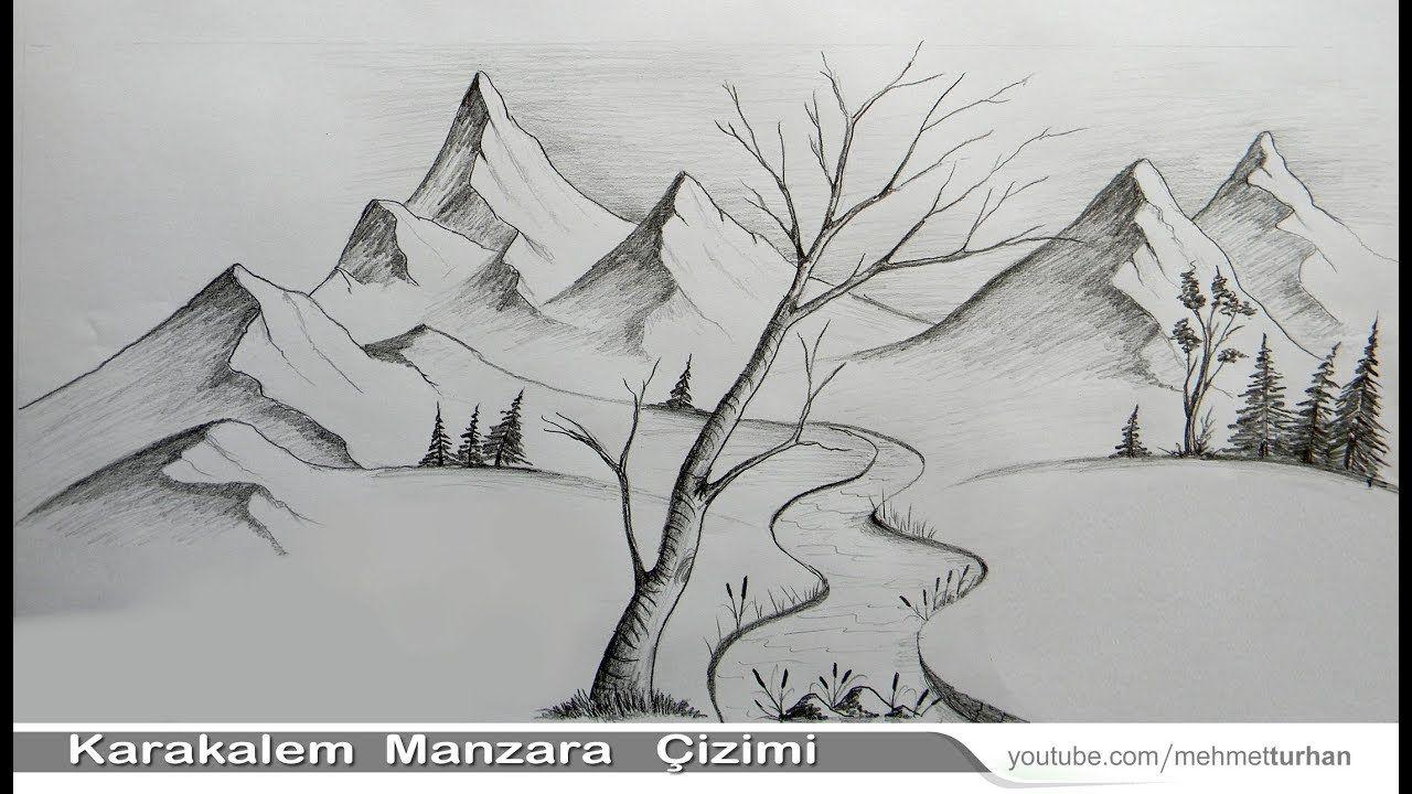 Karakalem Manzara Cizimi Nasil Yapilir Kara Kalem Cizim Teknigi Ile Ma Easy Pencil Drawings Karakalem Cizimler Cizim