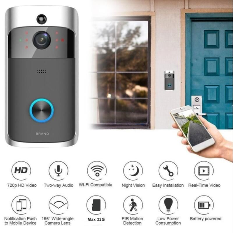 Iphone Cases New Hd 720p Wifi Video Doorbell Camera Ir Night Vision Two Way Audio Battery Operation Door Phone Intercom Wifi Doorbell Security Cameras For Home Video Door Phone