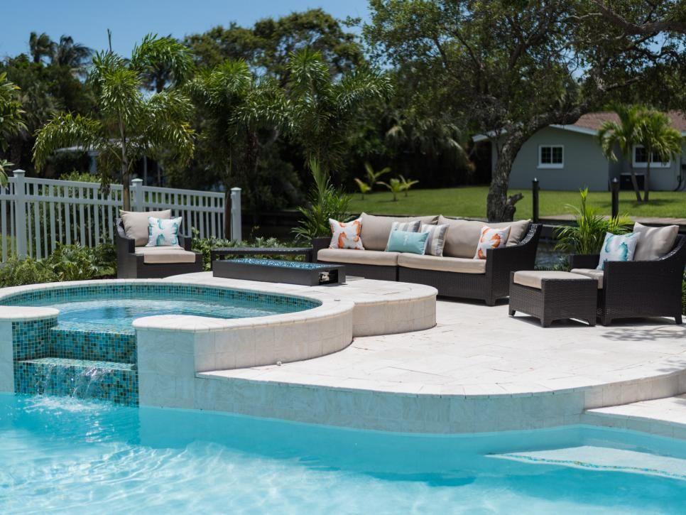White Travertine With Aqua Blue Green And Teal Glass Mosiac Backyard Oasis Backyard Waterfront Homes