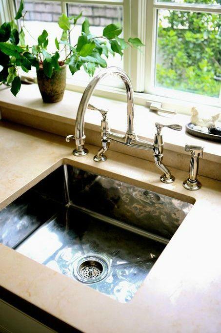 Sage Design   Kitchens   Polished Nickel, Gooseneck Bridge, Hammered Metal  Square Sink And Concrete Countertops