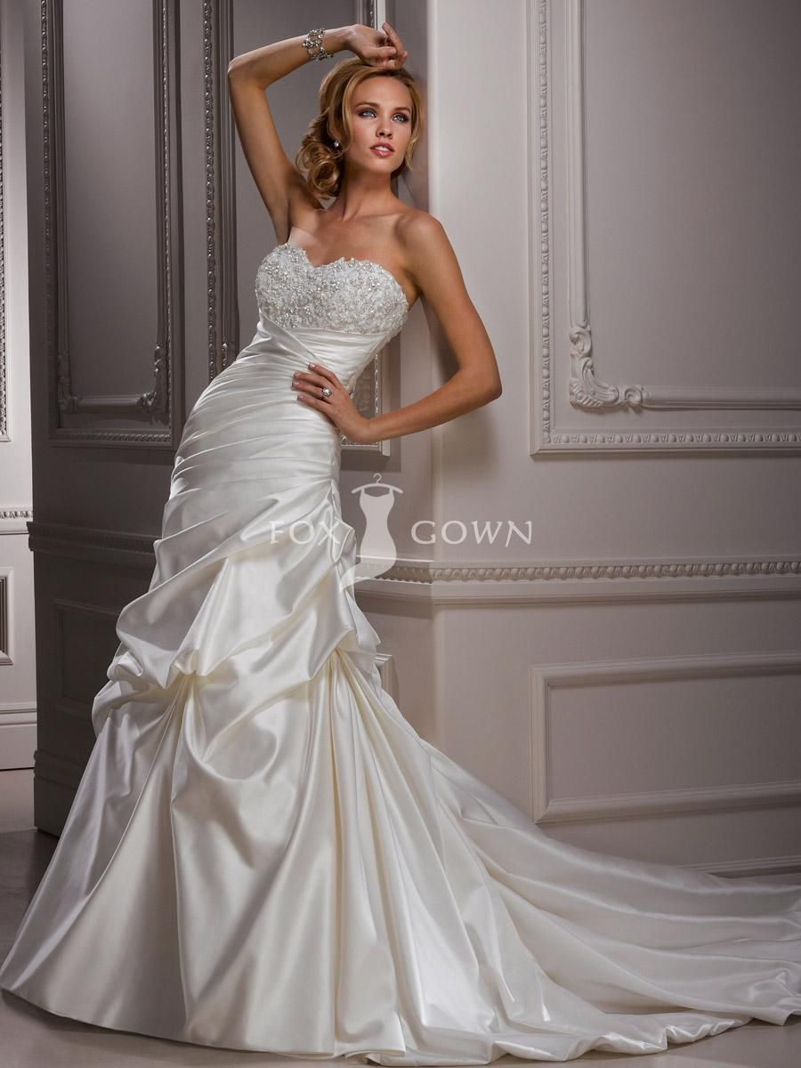 A Line Satin Sweetheart Wedding Dress With Dropped Waist And