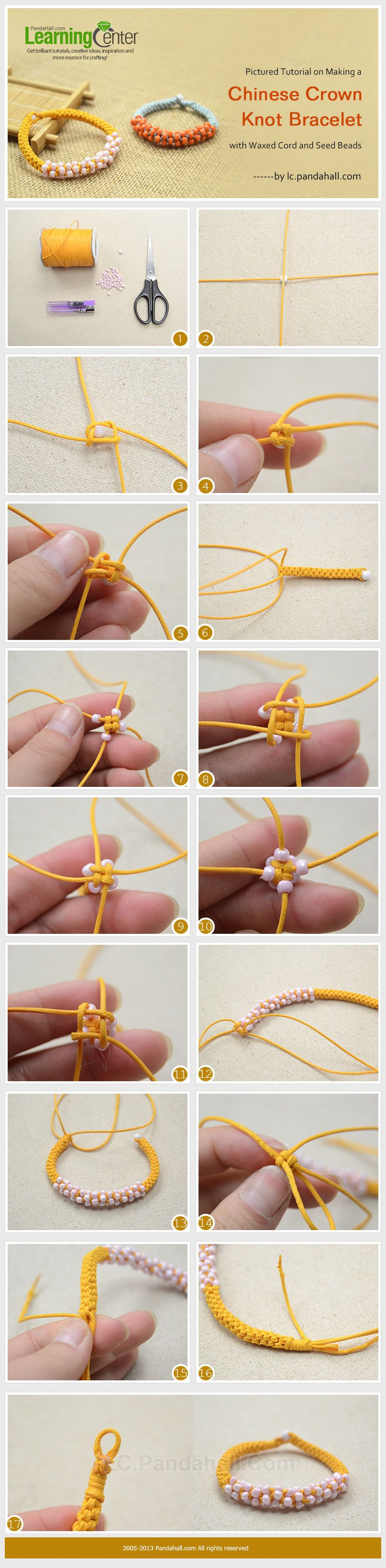 Pictured Tutorial on Making a Chinese Crown Knot Bracelet with Waxed Cord and Seed Beads