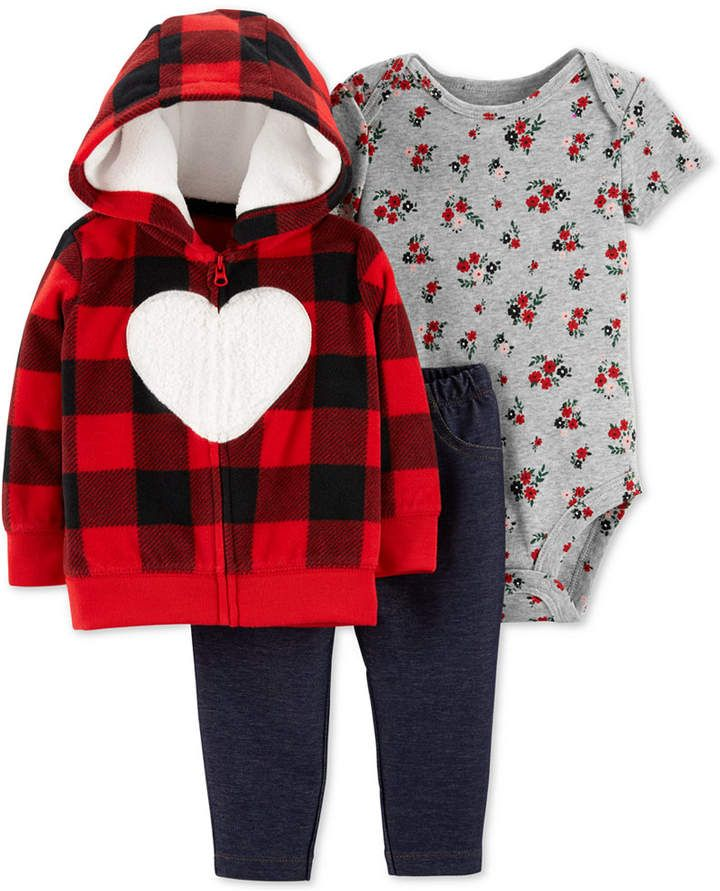 30b9f46ff Carter's Baby Girls 3-Pc. Heart Hoodie, Floral-Print Bodysuit & Denim Pants  Set
