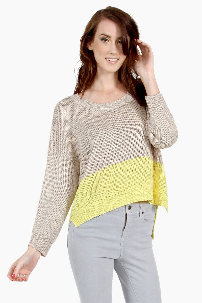March Madness Colorblock Sweater - Beige/Yellow