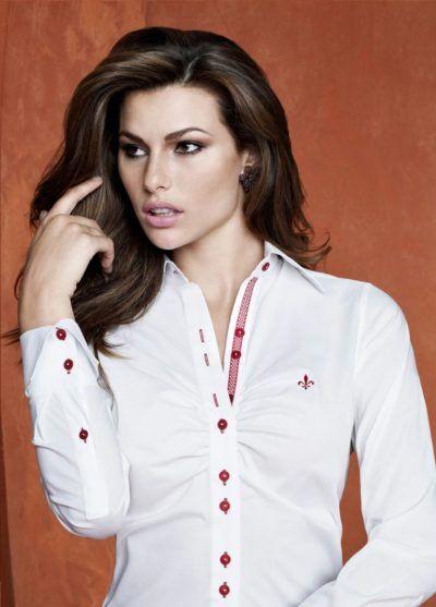 c441302368fd1 camisas Dudalina femininas branca com detalhes em vermelho