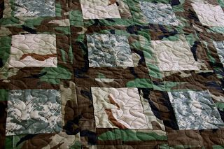 Alix Joyal shows how she made a quilt from military uniforms and patches to memorialize a Major in the Army. More on this quilt at the link, and other military memorial quilts at http://mamakamills.blogspot.com/p/military-quilts.html  She does do custom work.
