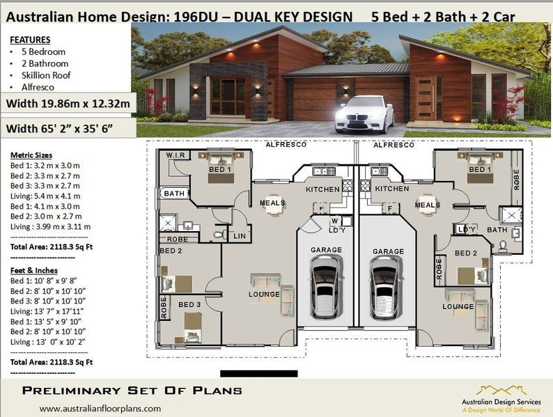 house plans 2115 Sq Ft (196 m2 ) 5 Bedrooms duplex