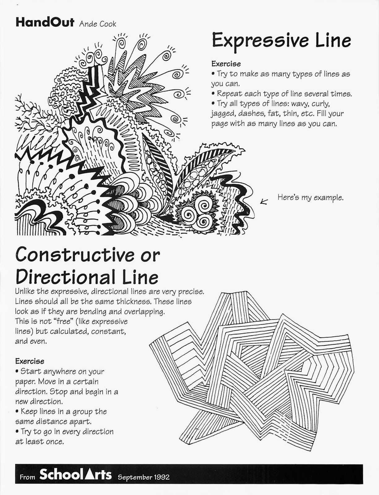 Line Drawing Activity : Free ande cook s expressive and directional line handout
