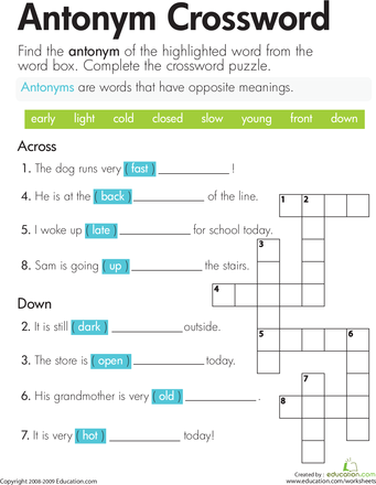 Antonym Crossword Grammer Pinterest Worksheets English And