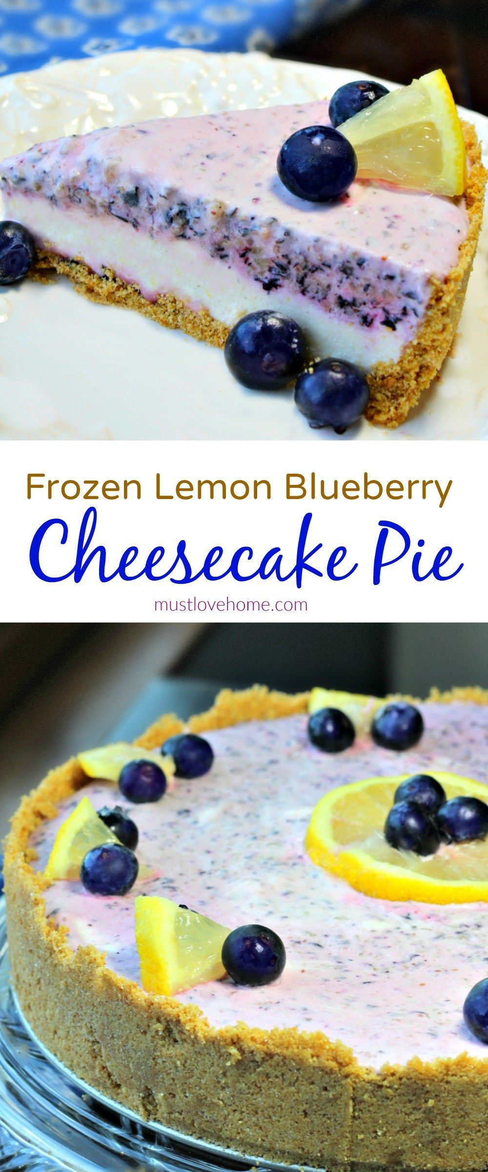 Frozen Lemon Blueberry Cheesecake Pie - a frosty no-bake summertime treat that combines cheesecake and pie into a dessert that will be a hit with the entire family! #lemonblueberrycheesecake