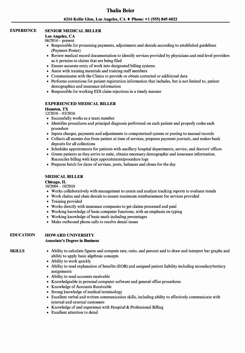 23 Medical Biller Resume Example in 2020 Resume examples