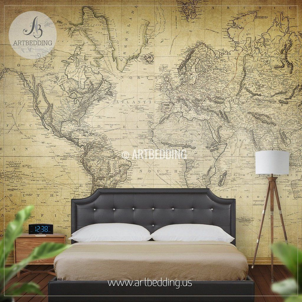 Vintage World Map from 1814 Wall Mural, Self Adhesive Peel