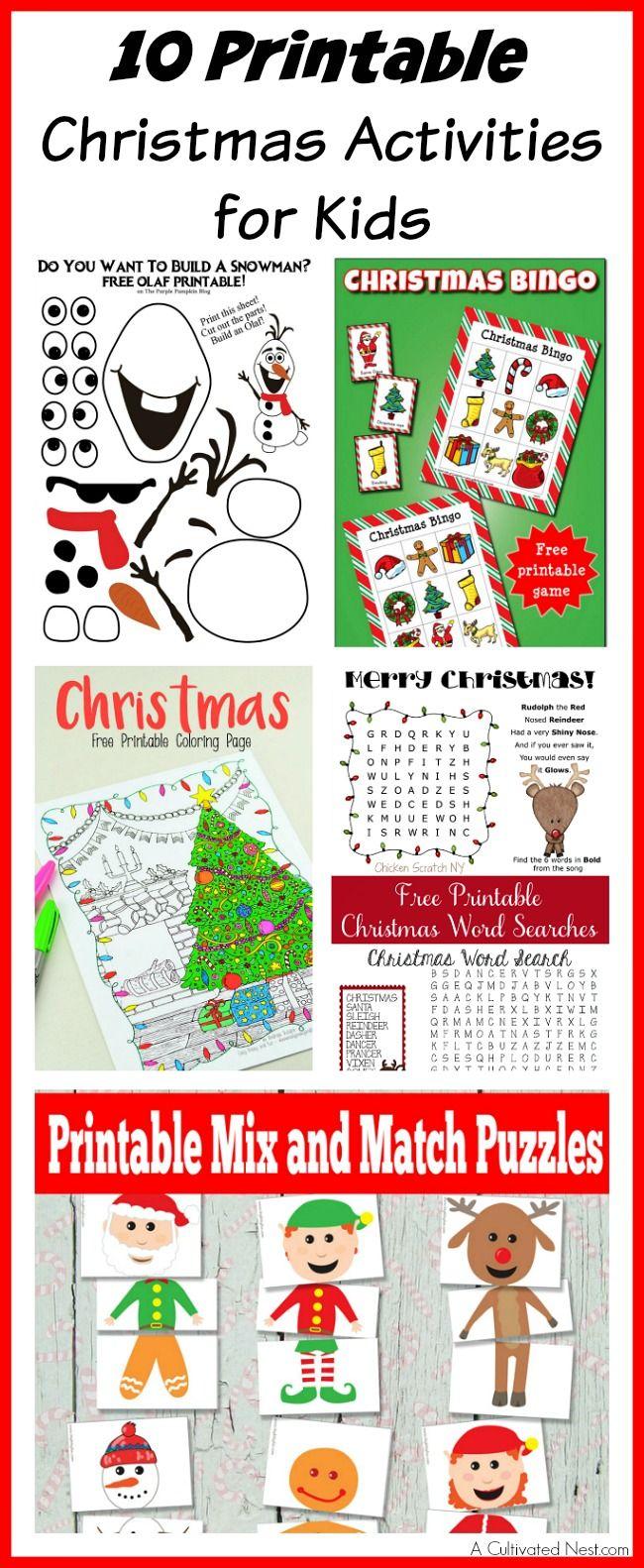 10 Printable Christmas Activities for Kids | Free printable ...