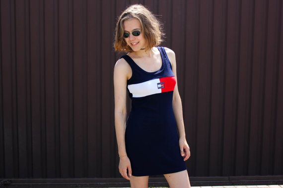 1a781c074b 90 s Tommy Hilfiger Dress   Vintage Tank Navy Blue Stretch Cotton ...