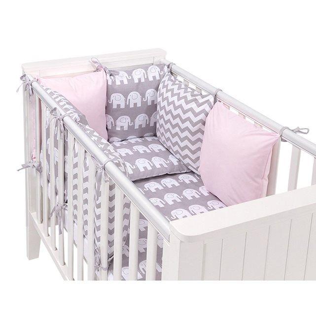 096e95a518ccf Set de 14 pièces parure de lit pour bébé avec design réversible et tour de lit  modulable de 6 coussins a nouer. Haute qualité garantie made in Europe  coton ...