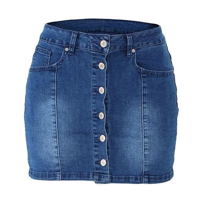 Summer Jeans Skirt Women High Waist Jupe Button Edges Mini Pencil S…