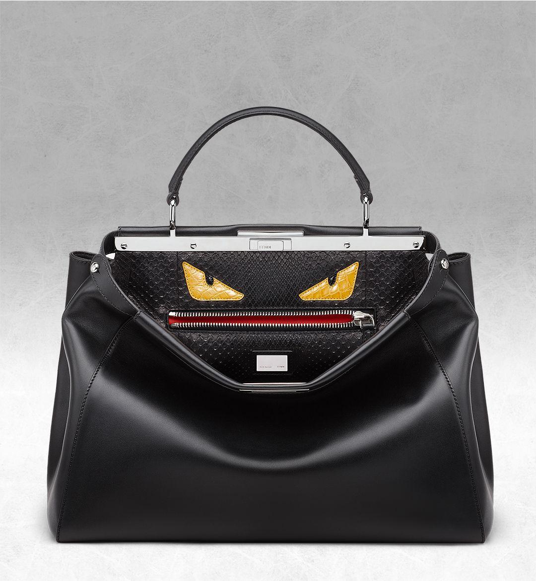 Fendi Peekaboo Monster Handbag Leather With Fur Interior Large Ybf4Nx