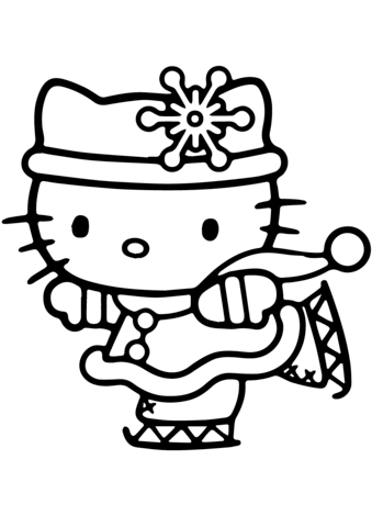 Hello Kitty Skating Coloring Page Hello Kitty Colouring Pages