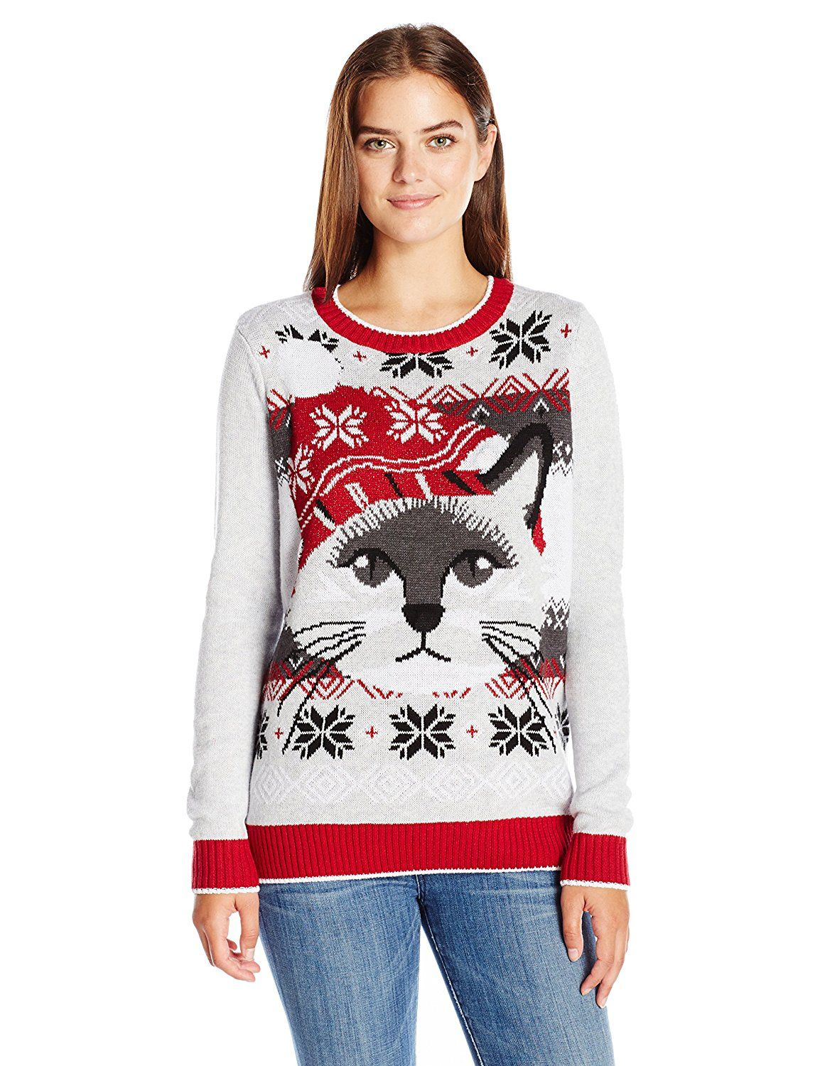 Amazoncom Ugly Christmas Sweater Womens Light Up Cat Face Silver