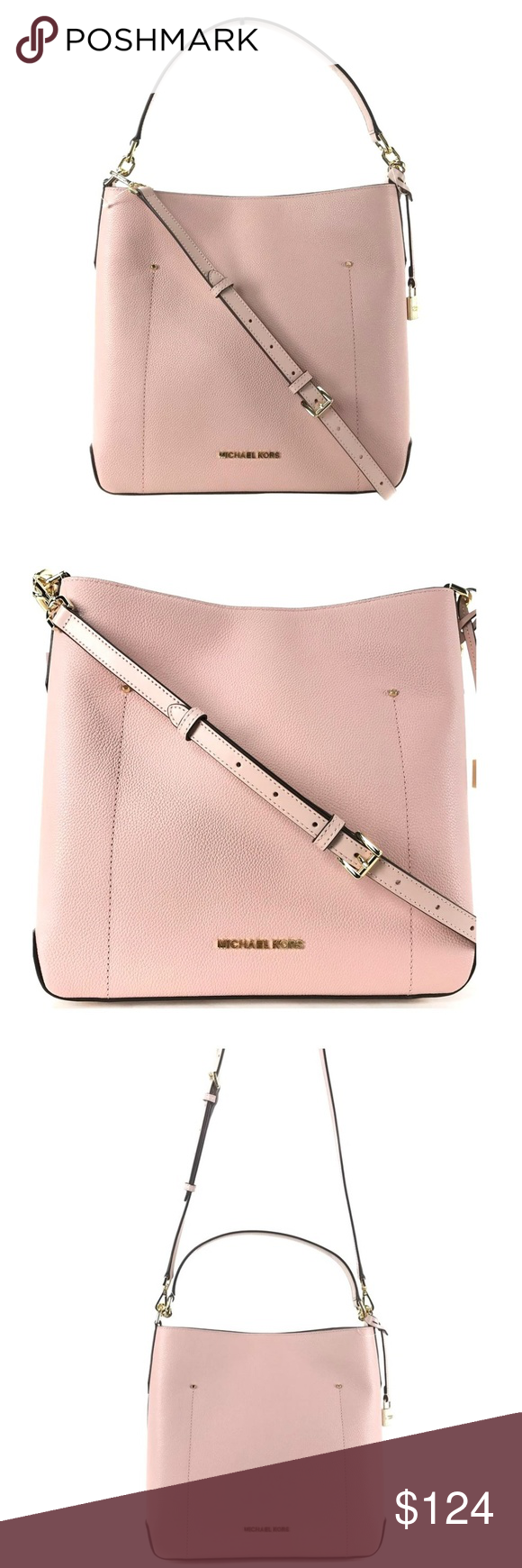 d4e37d740c6c Pastel Pink · Michael Kors Hayes LG Bucket Leather Shoulder Bag    100%  GUARANTEED AUTHENTIC OR