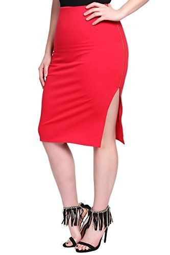 TheMogan Womens Side Zipper Curve Hugging Midi Pencil Skirts Red 3XL ** Continue to the product at the image link.