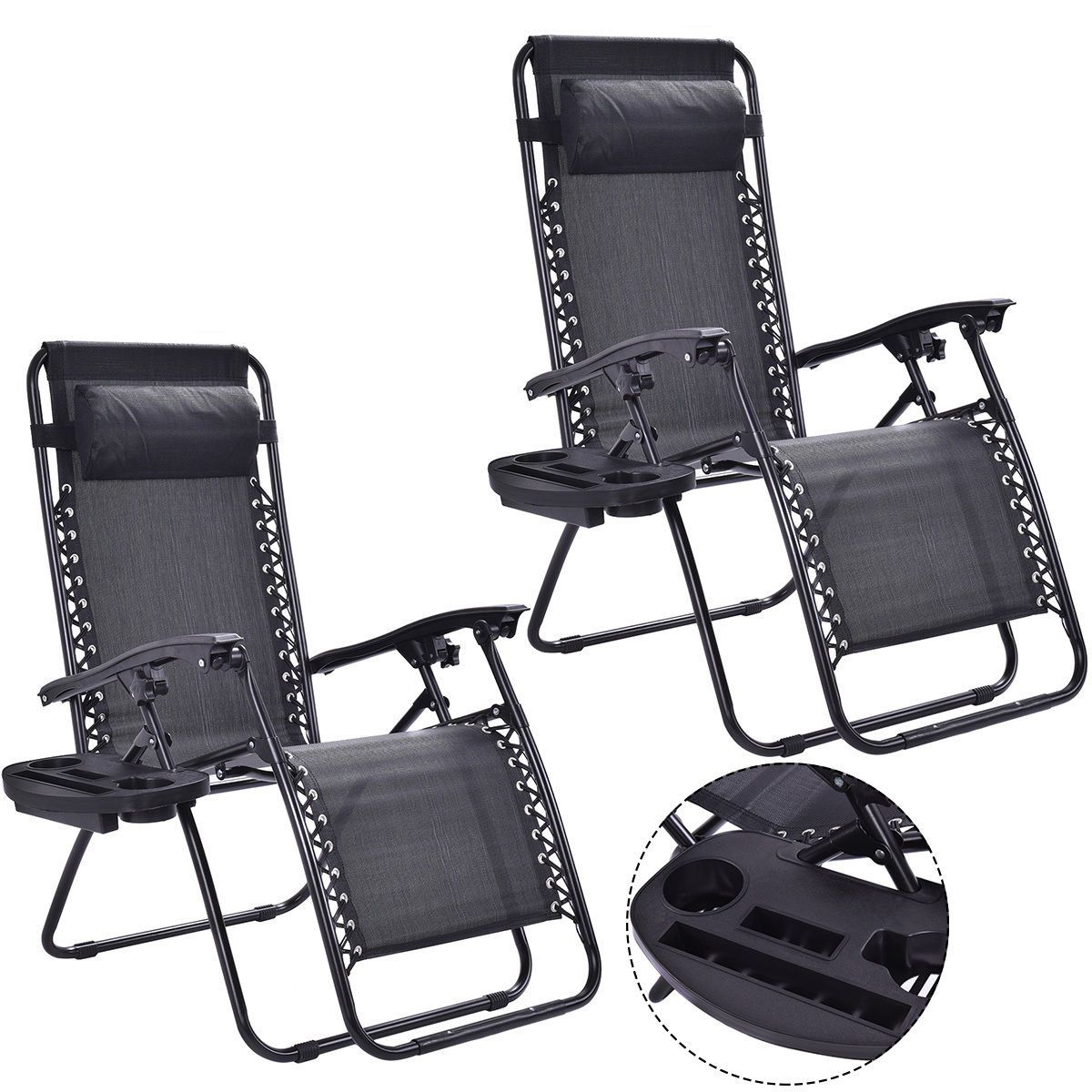 portable lounge chair cushion target stacking chairs 2 pcs folding with zero gravity in 2019 furniture 2pc patio recliner outdoor w cup holder
