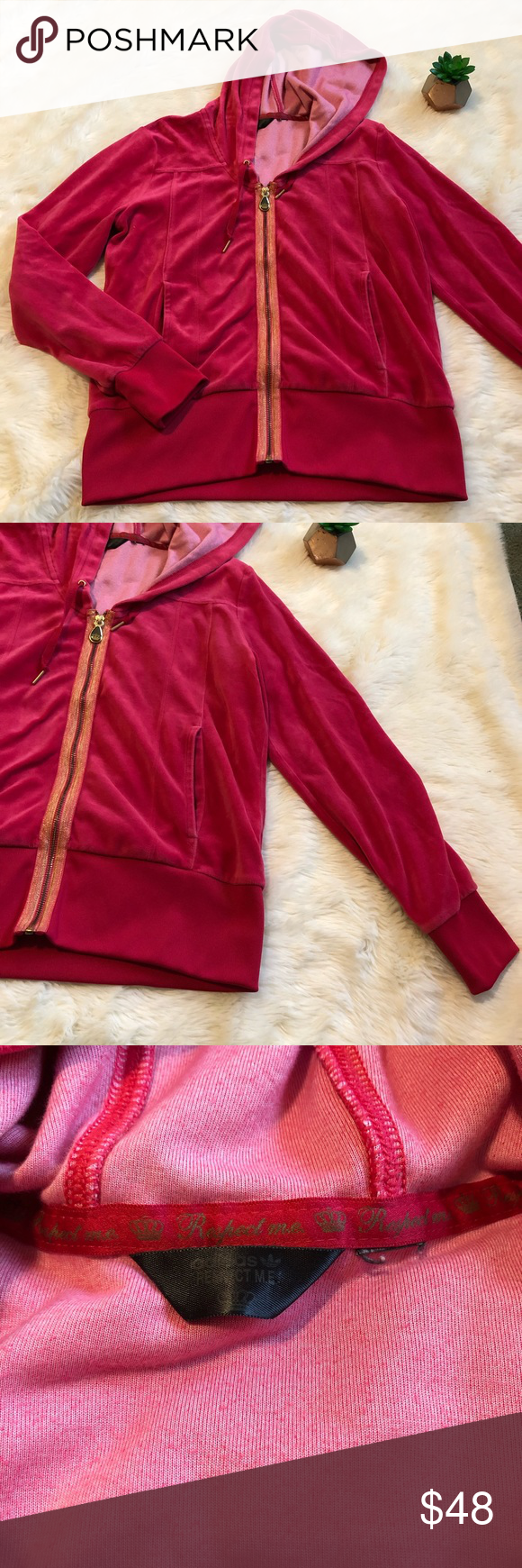 Adidas Respect Me Velvet Hot Pink Zip Up Adidas Missy