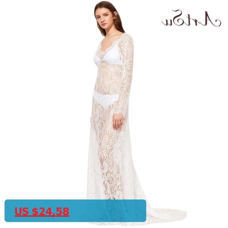 ArtSu 2017 Women Elegant Lace Long Dress Sexy Maxi See Through Floral V-Neck Evening Party Summer Dresses Vestidos ASDR20034