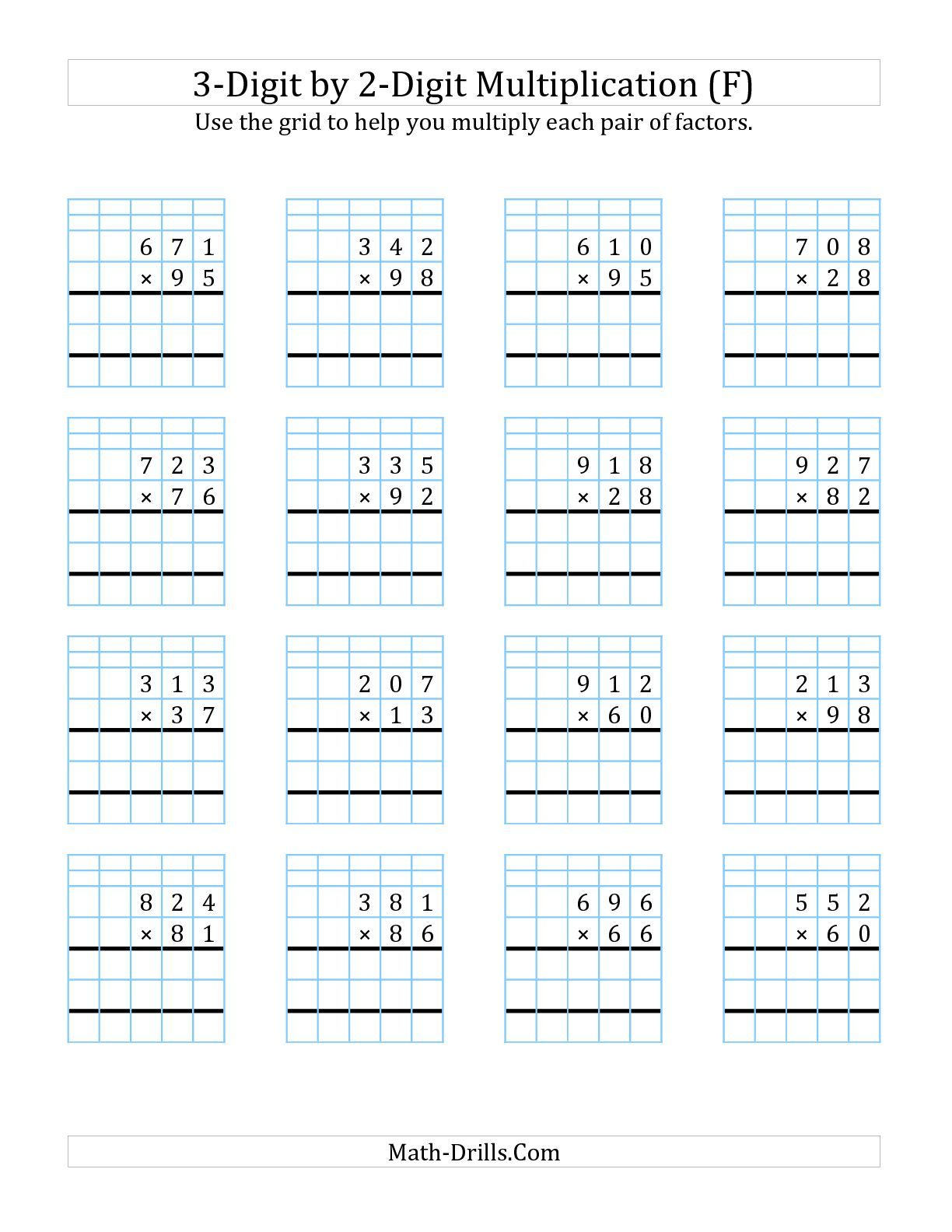 The 3-Digit by 2-Digit Multiplication with Grid Support (F) math worksheet  from the Lon…   Multiplication worksheets [ 1584 x 1224 Pixel ]