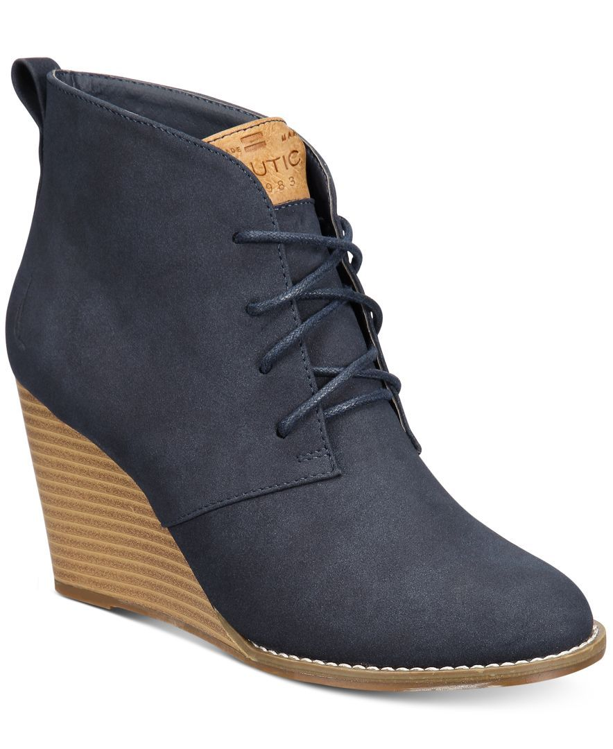 0bd05d18a07 Nautica Women's Waterline Wedge Lace-Up Booties | Products | Shoes ...