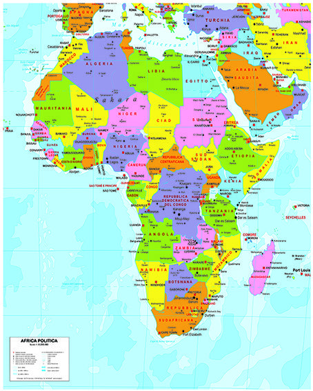 Cartina Geografica Africa Politica.Carta Dell Africa Politica Scuole Elementari Politica Africa
