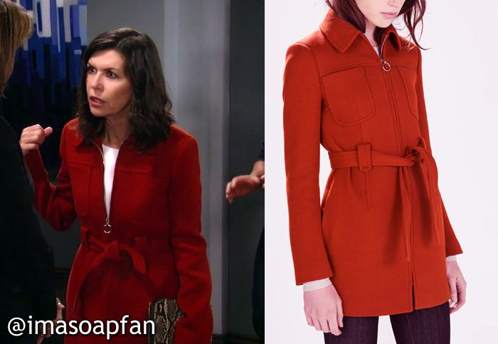 a65129da75d2d I m a Soap Fan  Anna Devane s Brick Red Coat - General Hospital ...