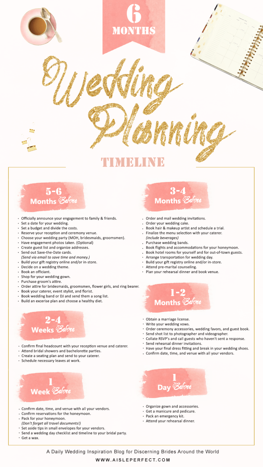 6 month wedding planning timeline Aisle Perfect