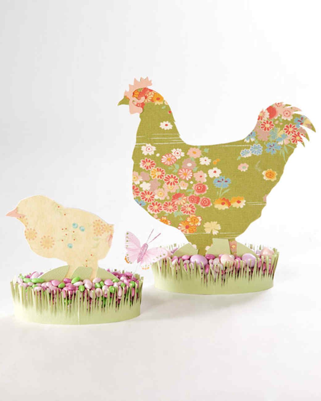 Easter Fabric Silhouettes | Martha Stewart Living - Complete your Easter decor with a parade of fabric cutout chicks and bunnies.