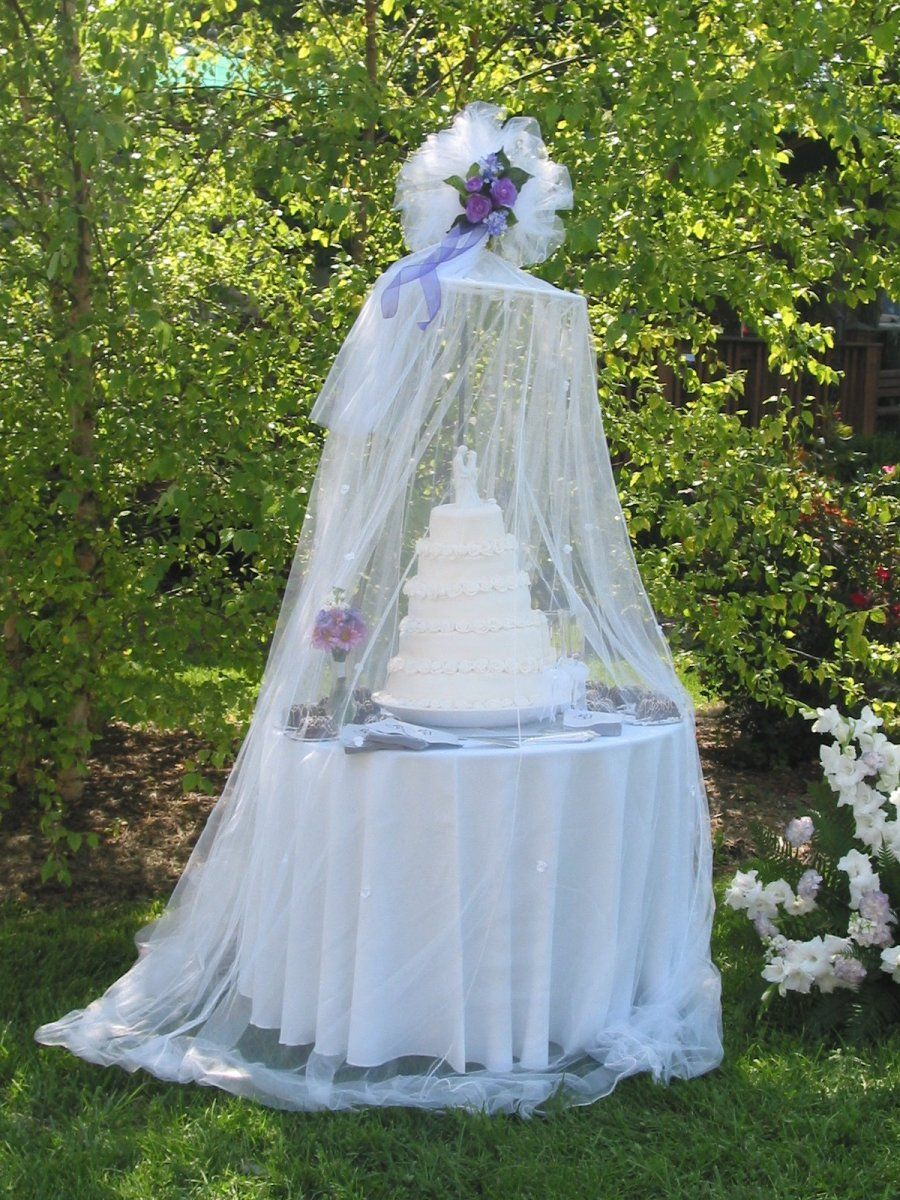 Outside wedding dresses  great way to display cake at outside wedding without worrying about