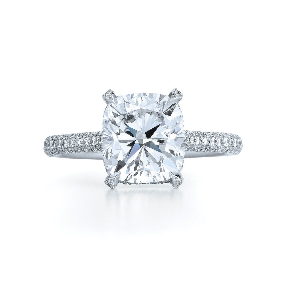 Cushion Diamond Ring In Platinum With A Rounded Diamond Band Visited This  Ring At The