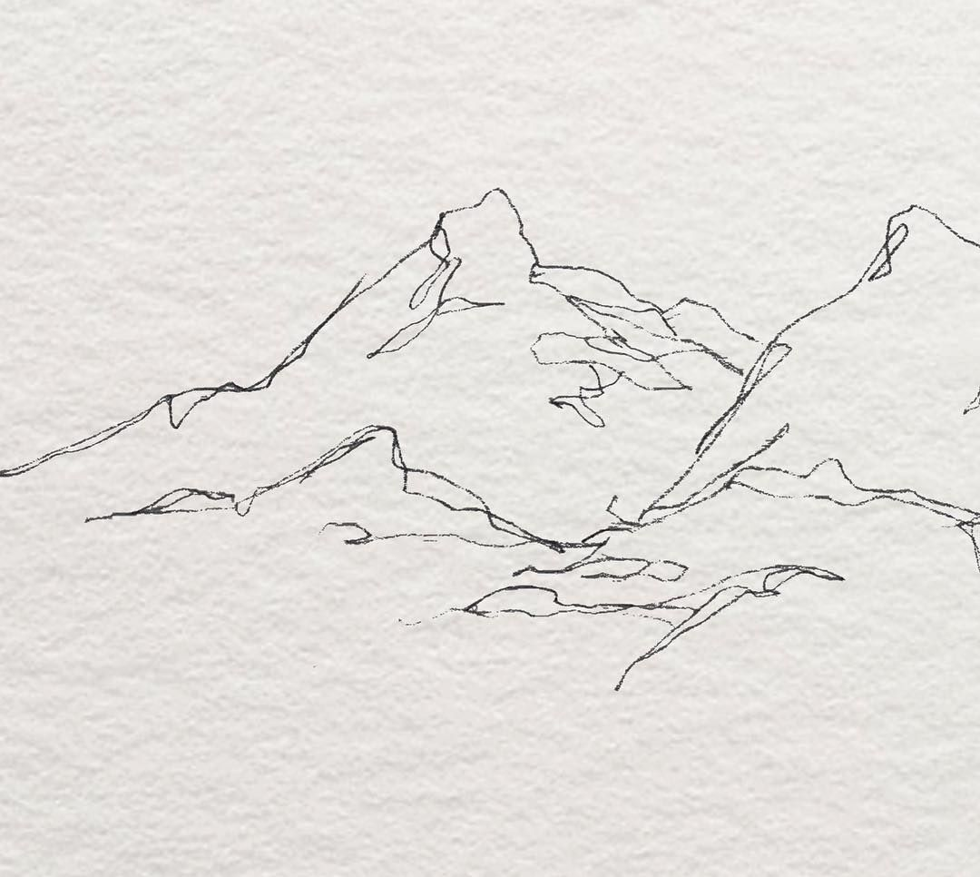 Mountain Illustration Design Line Drawing Abstract