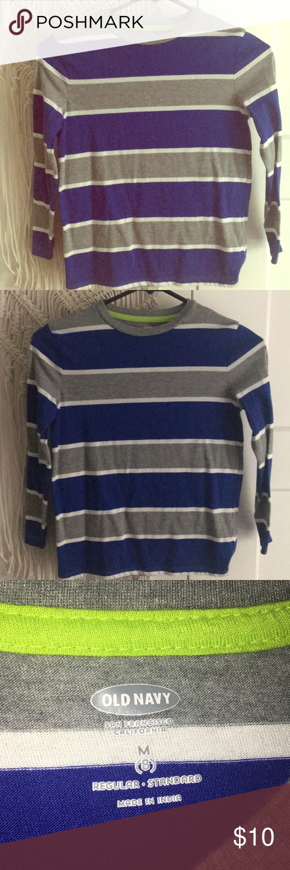 2f70e3cc1e LIKE NEW • Boys Long-Sleeve Shirt 🔹Old Navy Boys Striped Long-Sleeve Shirt  • Like new condition • Size M (8) • Blue, gray, and white stripe pattern •  Worn ...