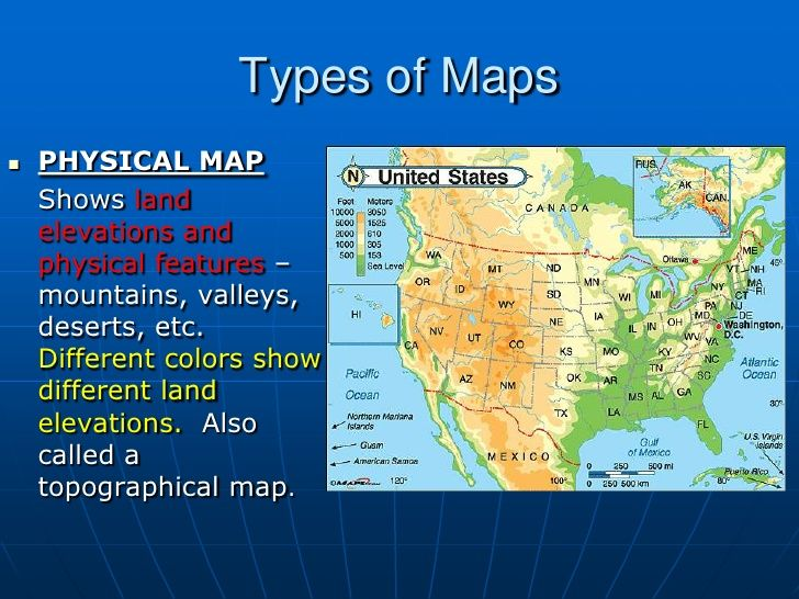 Types Of Mapsbr PHYSICAL MAPbr Shows Land Elevations And - Physical features of the us map