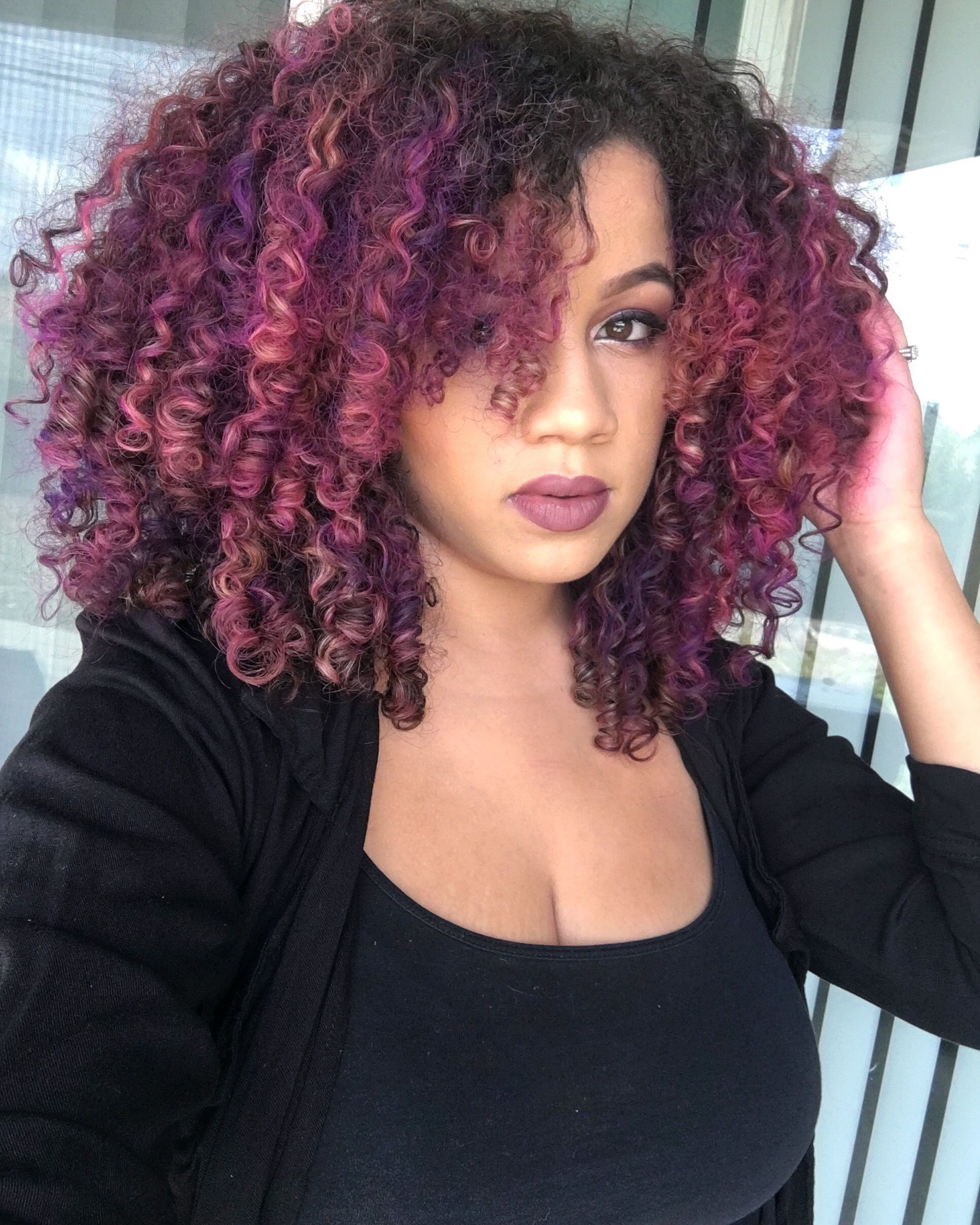 Pink And Purple Hair Natural Hair Styles Curly Hair Styles Naturally Natural Hair Color