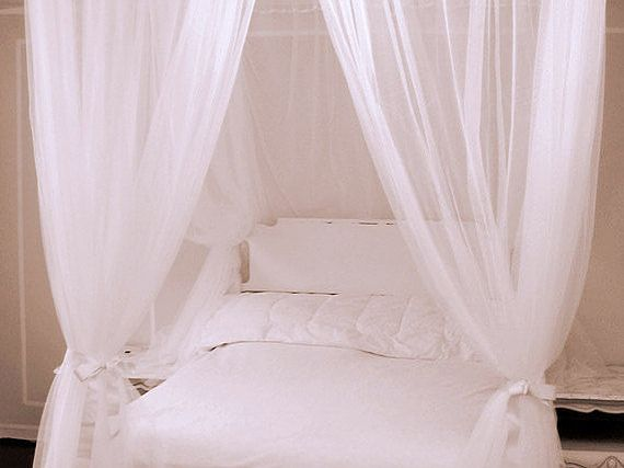 White Custom Bed Canopy With Chiffon Curtains Four Poster Etsy Canopy Glass Canopy Outdoor Little Girl Canopy Bed