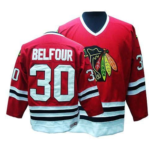 Chicago Blackhawks ED Belfour 30 Red Authentic Jersey Sale