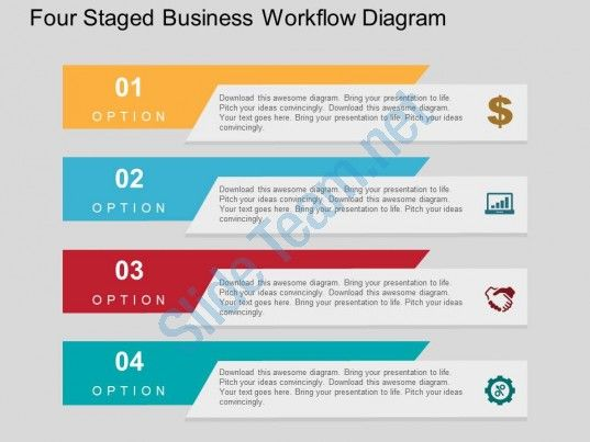four staged business workflow diagram flat powerpoint design, Presentation templates