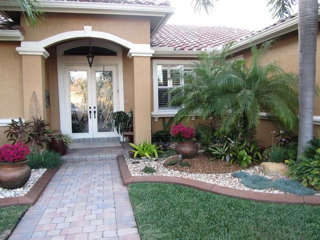 Beautiful designs front yard landscaping ideas with palm Florida landscape design ideas