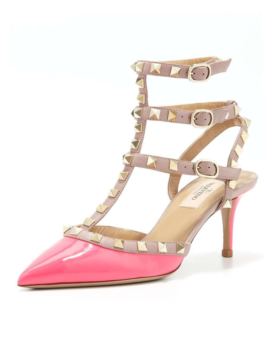 Valentino, Rockstud Patent Low-Heel Slingback, Pink