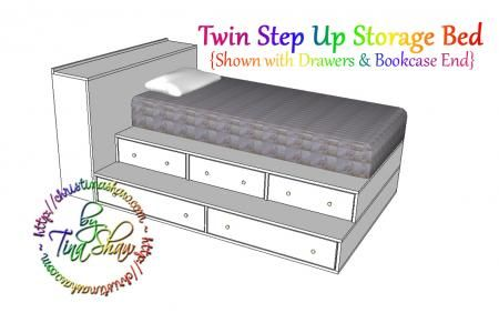 Twin Step Up Storage Bed With Images Diy Storage Bed Diy Twin